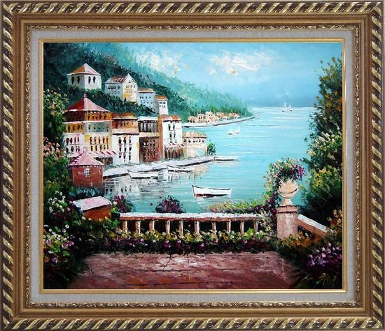 Framed Beach House with Flower Patio Oil Painting Mediterranean Naturalism Exquisite Gold Wood Frame 26 x 30 Inches