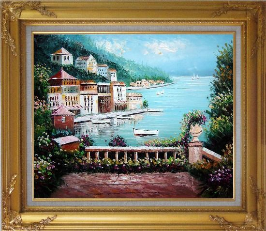 Framed Beach House with Flower Patio Oil Painting Mediterranean Naturalism Gold Wood Frame with Deco Corners 27 x 31 Inches