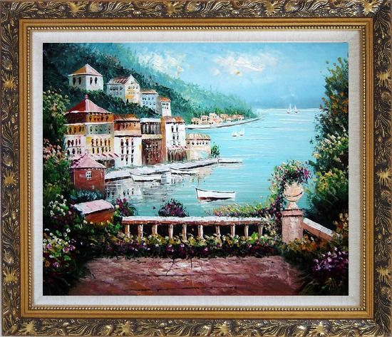 Framed Beach House with Flower Patio Oil Painting Mediterranean Naturalism Ornate Antique Dark Gold Wood Frame 26 x 30 Inches