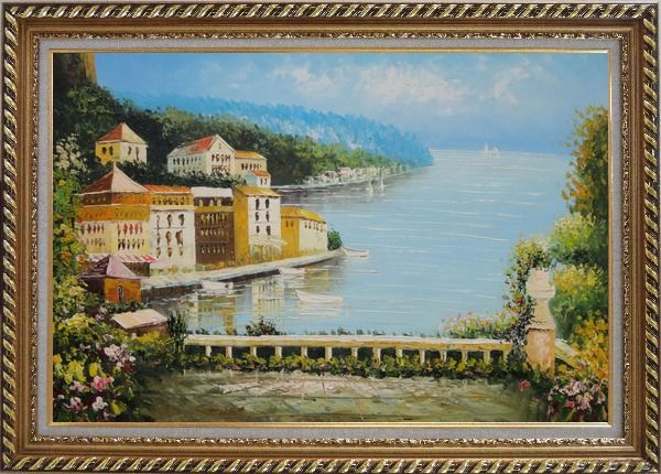 Framed Beach House with Flower Patio Oil Painting Mediterranean Naturalism Exquisite Gold Wood Frame 30 x 42 Inches
