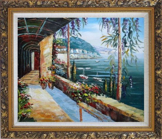 Framed Scenic View of Mediterranean Floral Patio Oil Painting Naturalism Ornate Antique Dark Gold Wood Frame 26 x 30 Inches