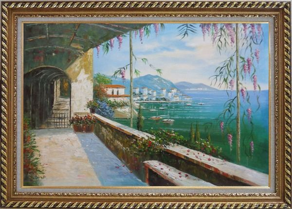 Framed Scenic View of Mediterranean Floral Patio Oil Painting Naturalism Exquisite Gold Wood Frame 30 x 42 Inches