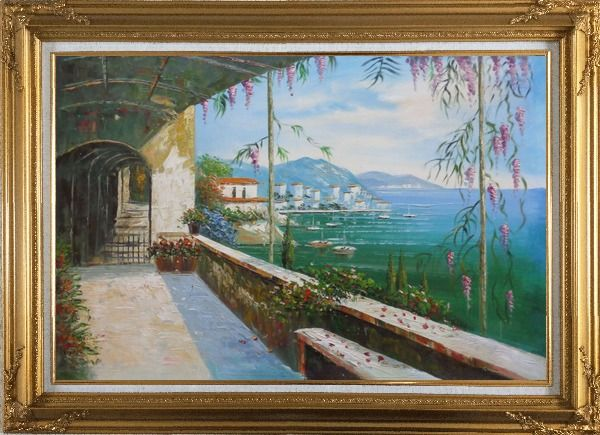 Framed Scenic View of Mediterranean Floral Patio Oil Painting Naturalism Gold Wood Frame with Deco Corners 31 x 43 Inches