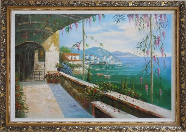 Framed Scenic View of Mediterranean Floral Patio Oil Painting Naturalism Ornate Antique Dark Gold Wood Frame 30 x 42 Inches