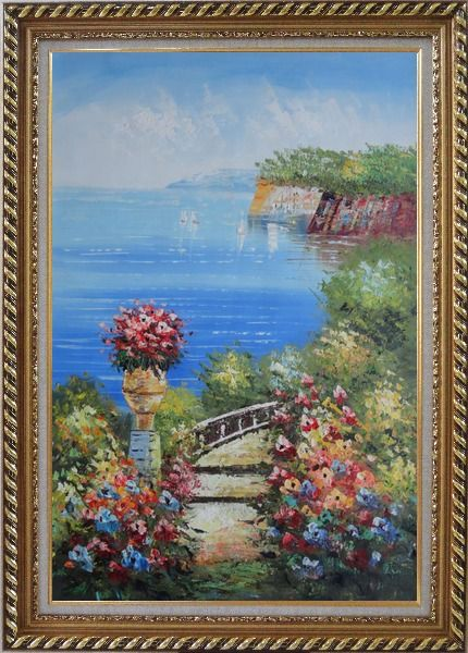 Framed Steps by the Bay Oil Painting Mediterranean Naturalism Exquisite Gold Wood Frame 42 x 30 Inches