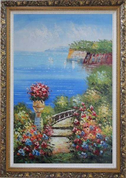 Framed Steps by the Bay Oil Painting Mediterranean Naturalism Ornate Antique Dark Gold Wood Frame 42 x 30 Inches