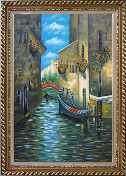 Framed Small Boat Across Bridge in Venice Water Canal Oil Painting Italy Impressionism Exquisite Gold Wood Frame 42 x 30 Inches