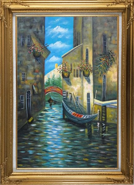 Framed Small Boat Across Bridge in Venice Water Canal Oil Painting Italy Impressionism Gold Wood Frame with Deco Corners 43 x 31 Inches