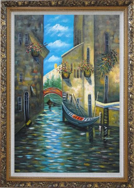 Framed Small Boat Across Bridge in Venice Water Canal Oil Painting Italy Impressionism Ornate Antique Dark Gold Wood Frame 42 x 30 Inches