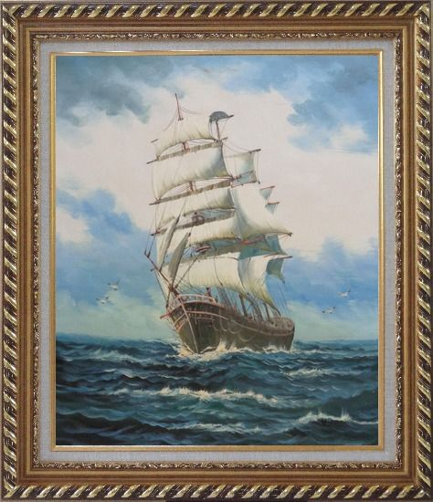 Framed A Big Barque Sailing Ship's Ocean Journey Oil Painting Boat Classic Exquisite Gold Wood Frame 30 x 26 Inches