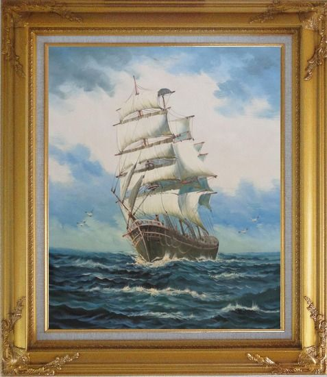 Framed A Big Barque Sailing Ship's Ocean Journey Oil Painting Boat Classic Gold Wood Frame with Deco Corners 31 x 27 Inches