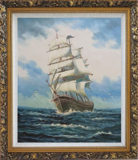 Framed A Big Barque Sailing Ship's Ocean Journey Oil Painting Boat Classic Ornate Antique Dark Gold Wood Frame 30 x 26 Inches