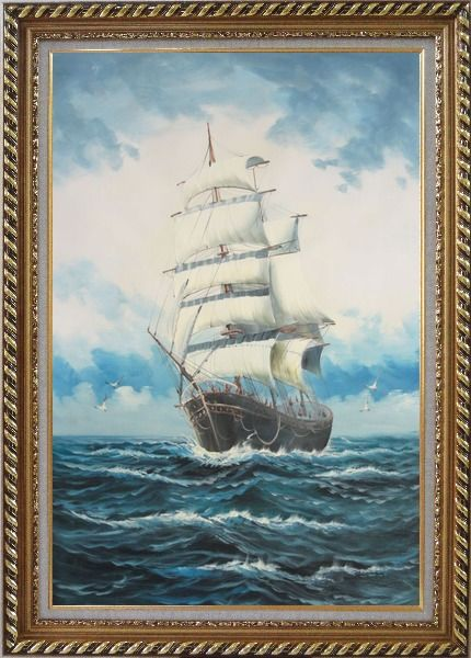 Framed A Big Barque Sailing Ship's Ocean Journey Oil Painting Boat Classic Exquisite Gold Wood Frame 42 x 30 Inches