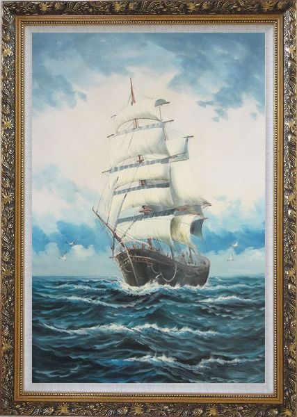 Framed A Big Barque Sailing Ship's Ocean Journey Oil Painting Boat Classic Ornate Antique Dark Gold Wood Frame 42 x 30 Inches