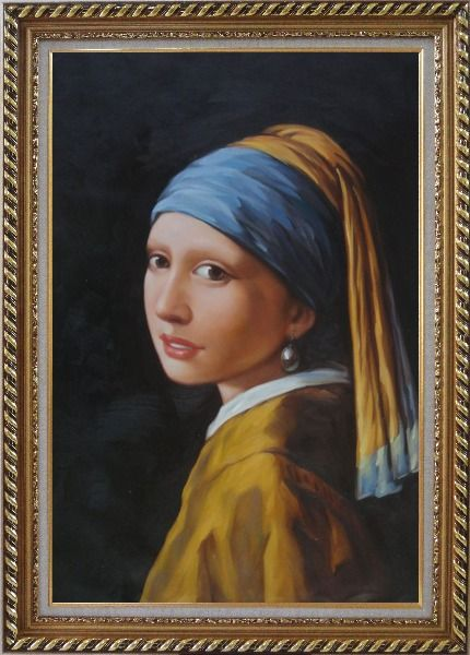Framed Girl with a Pearl Earring - Jan Vermeer Reproduction Oil Painting Portraits Woman Classic Exquisite Gold Wood Frame 42 x 30 Inches