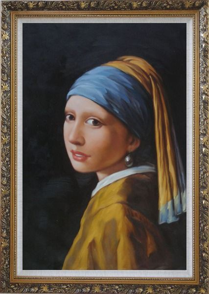 Framed Girl with a Pearl Earring - Jan Vermeer Reproduction Oil Painting Portraits Woman Classic Ornate Antique Dark Gold Wood Frame 42 x 30 Inches