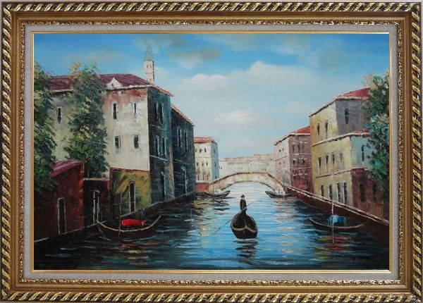 Framed Italian Venice Water Street Scene Oil Painting Italy Naturalism Exquisite Gold Wood Frame 30 x 42 Inches