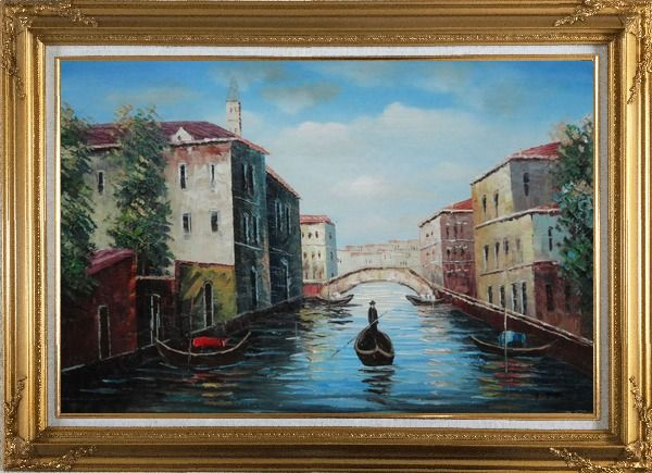 Framed Italian Venice Water Street Scene Oil Painting Italy Naturalism Gold Wood Frame with Deco Corners 31 x 43 Inches