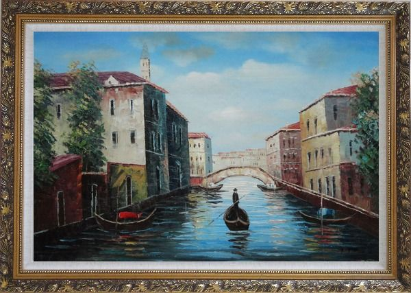 Framed Italian Venice Water Street Scene Oil Painting Italy Naturalism Ornate Antique Dark Gold Wood Frame 30 x 42 Inches