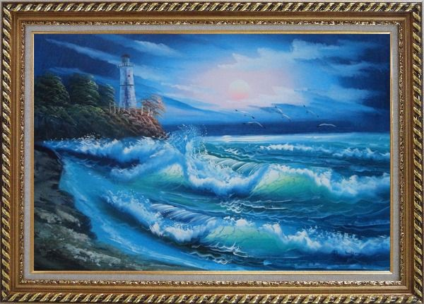 Framed Sunset Lighthouse Oil Painting Seascape America Naturalism Exquisite Gold Wood Frame 30 x 42 Inches