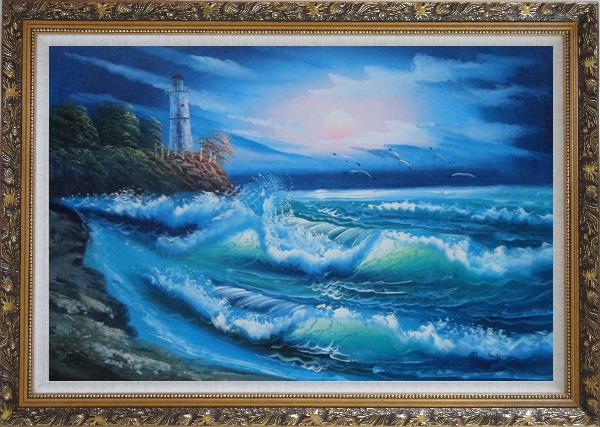 Framed Sunset Lighthouse Oil Painting Seascape America Naturalism Ornate Antique Dark Gold Wood Frame 30 x 42 Inches