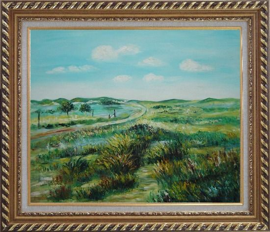 Framed Panoramic View of Countryside Oil Painting Landscape Naturalism Exquisite Gold Wood Frame 26 x 30 Inches