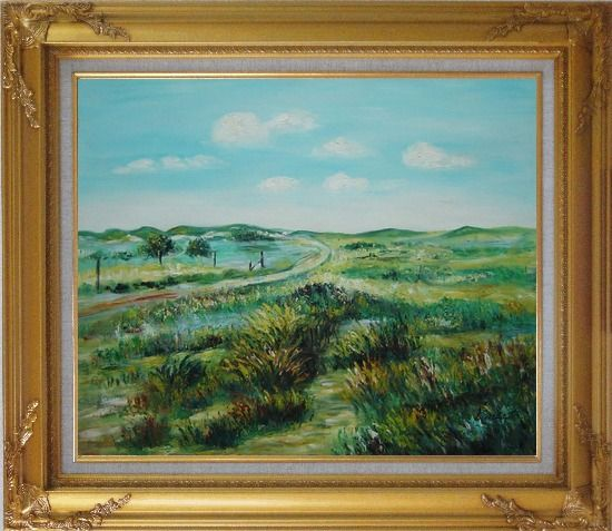 Framed Panoramic View of Countryside Oil Painting Landscape Naturalism Gold Wood Frame with Deco Corners 27 x 31 Inches