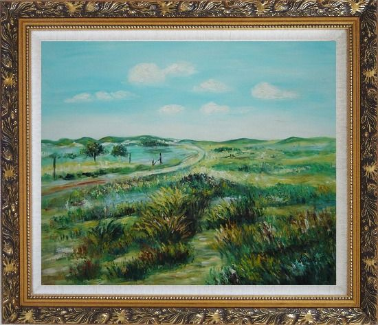 Framed Panoramic View of Countryside Oil Painting Landscape Naturalism Ornate Antique Dark Gold Wood Frame 26 x 30 Inches