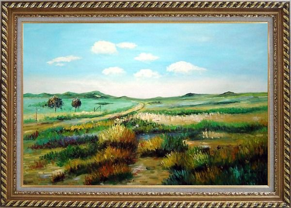 Framed Panoramic View of Countryside Oil Painting Landscape Naturalism Exquisite Gold Wood Frame 30 x 42 Inches