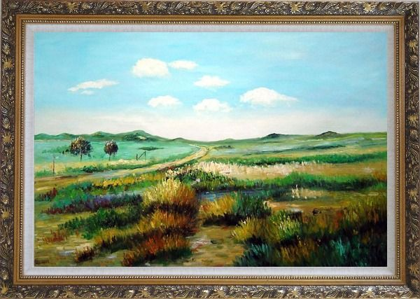 Framed Panoramic View of Countryside Oil Painting Landscape Naturalism Ornate Antique Dark Gold Wood Frame 30 x 42 Inches