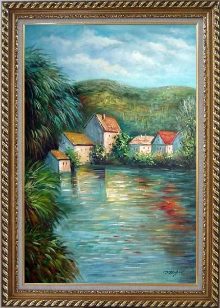 Framed Lakeside Red Roof Houses Oil Painting Landscape River Impressionism Exquisite Gold Wood Frame 42 x 30 Inches