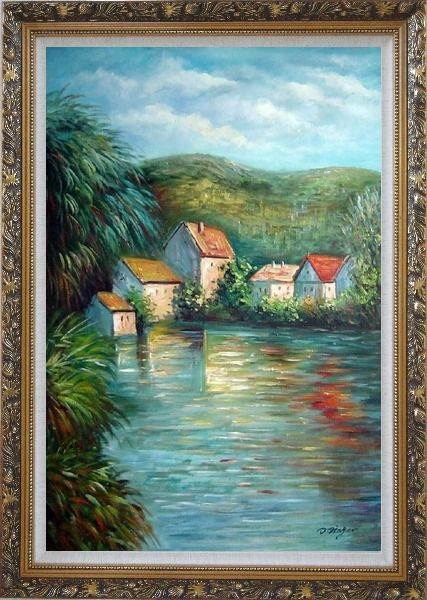Framed Lakeside Red Roof Houses Oil Painting Landscape River Impressionism Ornate Antique Dark Gold Wood Frame 42 x 30 Inches
