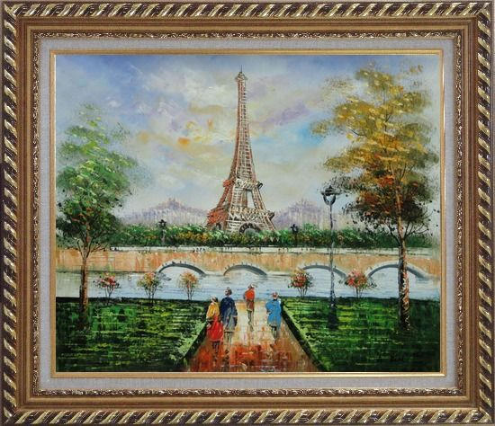 Framed Figures, Eiffel Tower, and The Seine River at Spring Oil Painting Cityscape France Impressionism Exquisite Gold Wood Frame 26 x 30 Inches