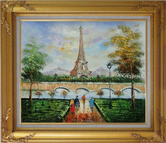 Framed Figures, Eiffel Tower, and The Seine River at Spring Oil Painting Cityscape France Impressionism Gold Wood Frame with Deco Corners 27 x 31 Inches