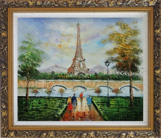Framed Figures, Eiffel Tower, and The Seine River at Spring Oil Painting Cityscape France Impressionism Ornate Antique Dark Gold Wood Frame 26 x 30 Inches