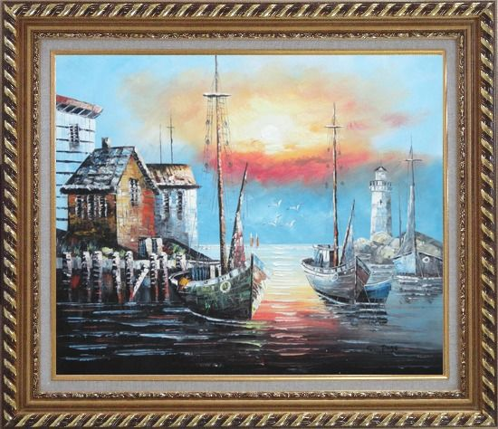 Framed Fishing Boats on Port At Sunset Oil Painting Naturalism Exquisite Gold Wood Frame 26 x 30 Inches