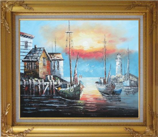 Framed Fishing Boats on Port At Sunset Oil Painting Naturalism Gold Wood Frame with Deco Corners 27 x 31 Inches
