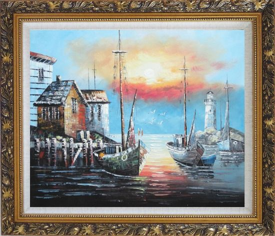 Framed Fishing Boats on Port At Sunset Oil Painting Naturalism Ornate Antique Dark Gold Wood Frame 26 x 30 Inches