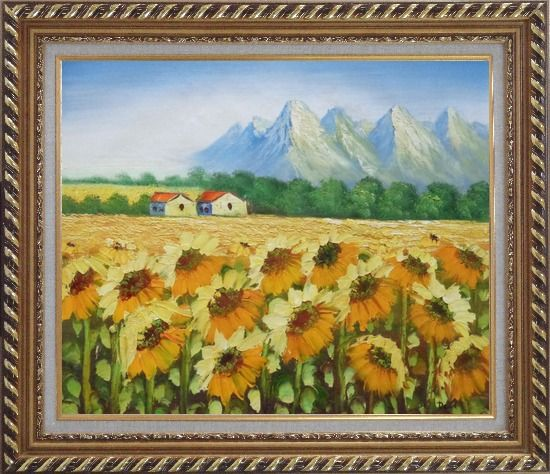 Framed Sunflower Field, Cottage And Snow Mountain Oil Painting Landscape Impressionism Exquisite Gold Wood Frame 26 x 30 Inches