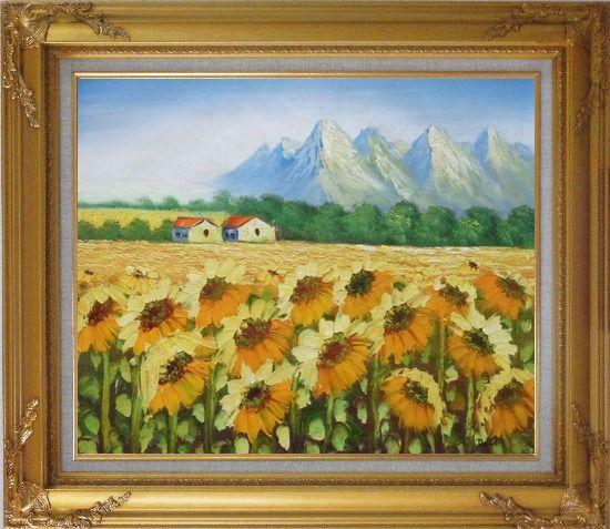 Framed Sunflower Field, Cottage And Snow Mountain Oil Painting Landscape Impressionism Gold Wood Frame with Deco Corners 27 x 31 Inches
