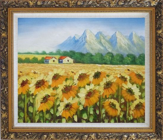 Framed Sunflower Field, Cottage And Snow Mountain Oil Painting Landscape Impressionism Ornate Antique Dark Gold Wood Frame 26 x 30 Inches