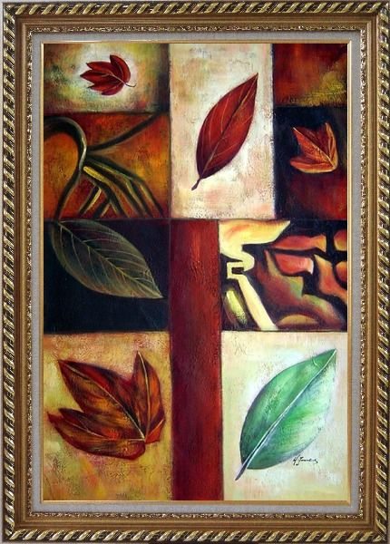 Framed Leaves on Patches Oil Painting Still Life Decorative Exquisite Gold Wood Frame 42 x 30 Inches