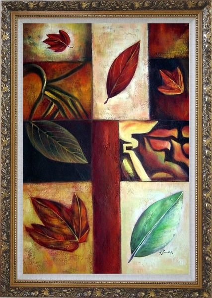 Framed Leaves on Patches Oil Painting Still Life Decorative Ornate Antique Dark Gold Wood Frame 42 x 30 Inches
