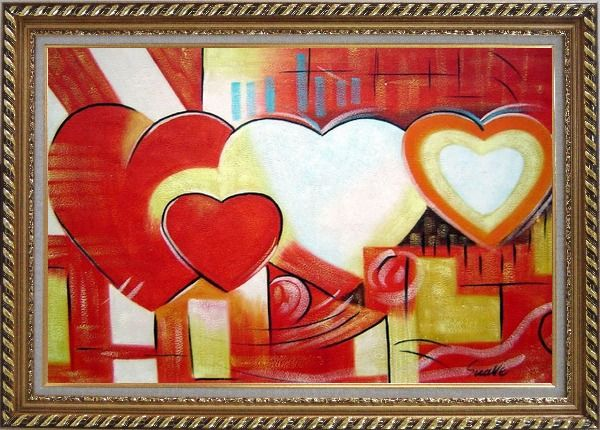Framed Magnificent Love Oil Painting Nonobjective Religion Modern Exquisite Gold Wood Frame 30 x 42 Inches