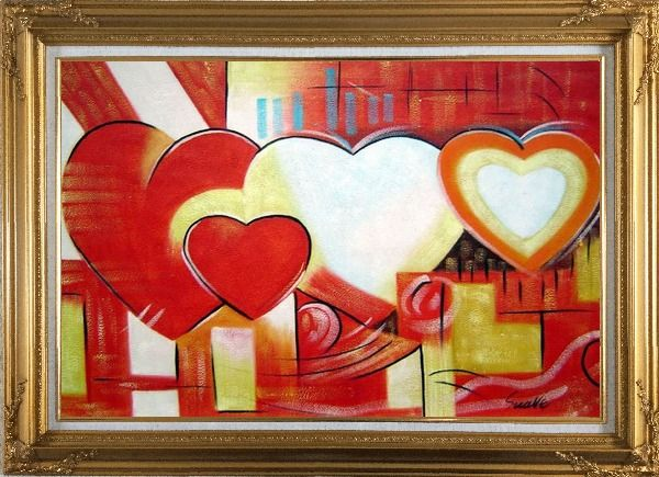 Framed Magnificent Love Oil Painting Nonobjective Religion Modern Gold Wood Frame with Deco Corners 31 x 43 Inches