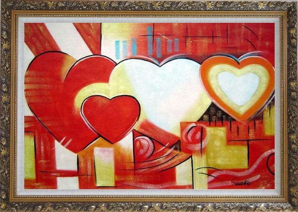 Framed Magnificent Love Oil Painting Nonobjective Religion Modern Ornate Antique Dark Gold Wood Frame 30 x 42 Inches