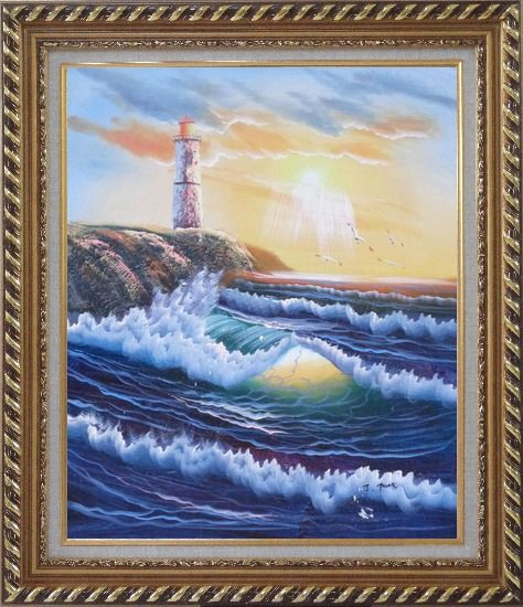 Framed Lighthouse, Sea Waves, Cliffs, Seagulls at Sunset Oil Painting Seascape Naturalism Exquisite Gold Wood Frame 30 x 26 Inches