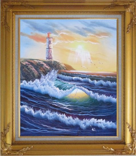 Framed Lighthouse, Sea Waves, Cliffs, Seagulls at Sunset Oil Painting Seascape Naturalism Gold Wood Frame with Deco Corners 31 x 27 Inches