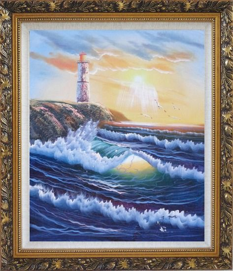 Framed Lighthouse, Sea Waves, Cliffs, Seagulls at Sunset Oil Painting Seascape Naturalism Ornate Antique Dark Gold Wood Frame 30 x 26 Inches