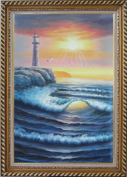 Framed Lighthouse, Sea Waves, Cliffs, Seagulls at Sunset Oil Painting Seascape Naturalism Exquisite Gold Wood Frame 42 x 30 Inches